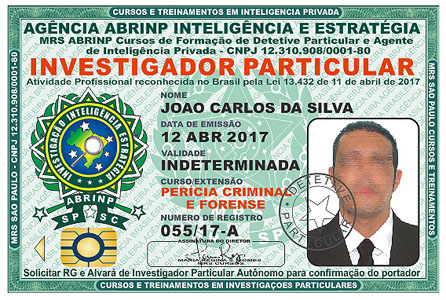 Carteira do Curso de Perito Forense